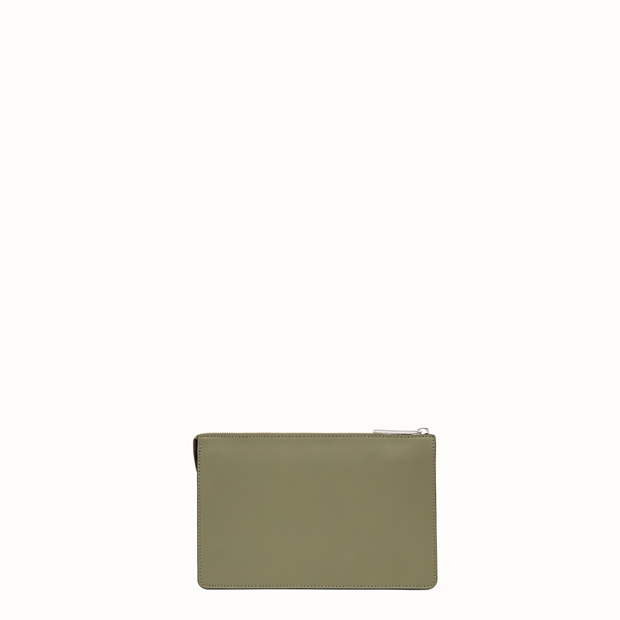FENDI CLUTCH - Green leather pouch - view 3 detail