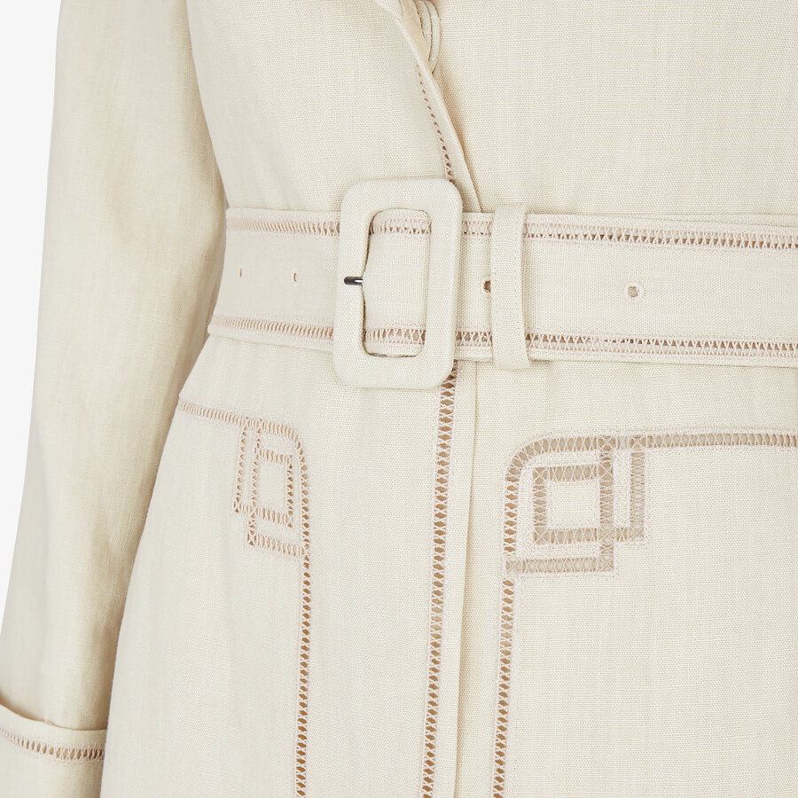 FENDI OVERCOAT - Beige linen trench coat - view 3 detail