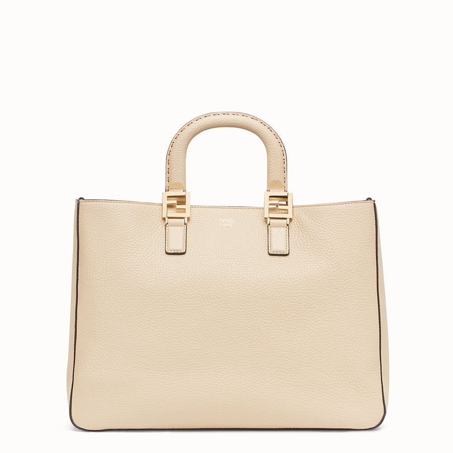 FENDI FF TOTE MEDIUM - Beige leather bag - view 1 detail