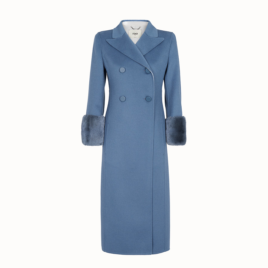 FENDI OVERCOAT - Blue wool overcoat - view 1 detail