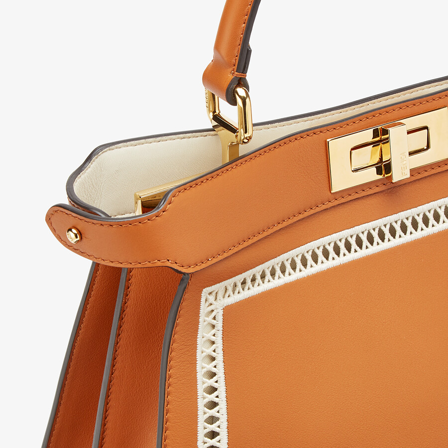 FENDI PEEKABOO ISEEU MEDIUM - Embroidered brown leather bag - view 7 detail