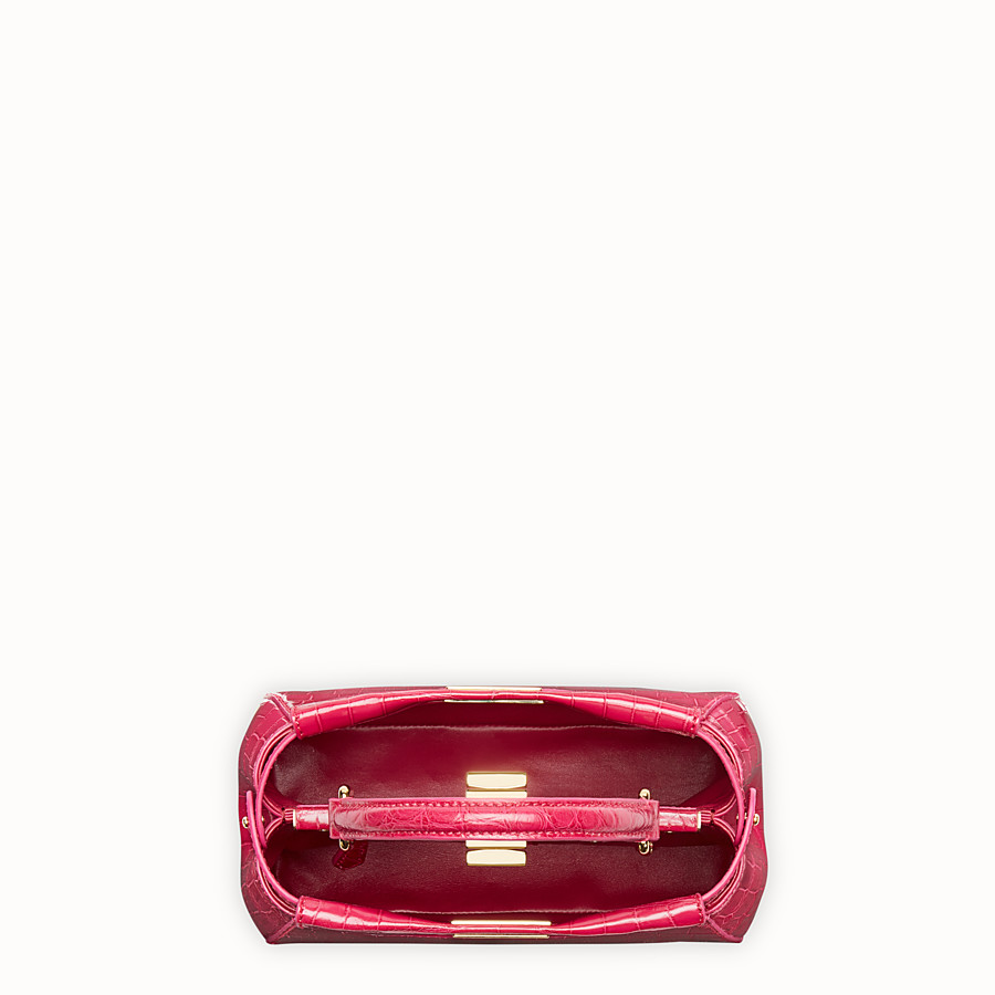 FENDI PEEKABOO MINI - Red crocodile leather handbag. - view 4 detail