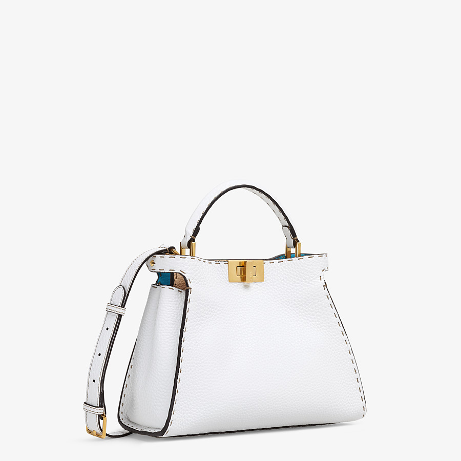 FENDI PEEKABOO ICONIC ESSENTIALLY - White Cuoio Romano leather bag - view 3 detail