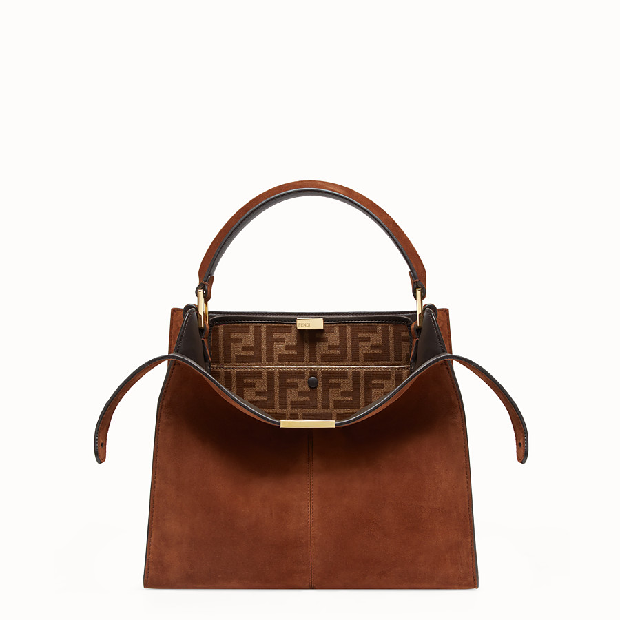FENDI PEEKABOO X-LITE REGULAR - Brown suede bag - view 1 detail