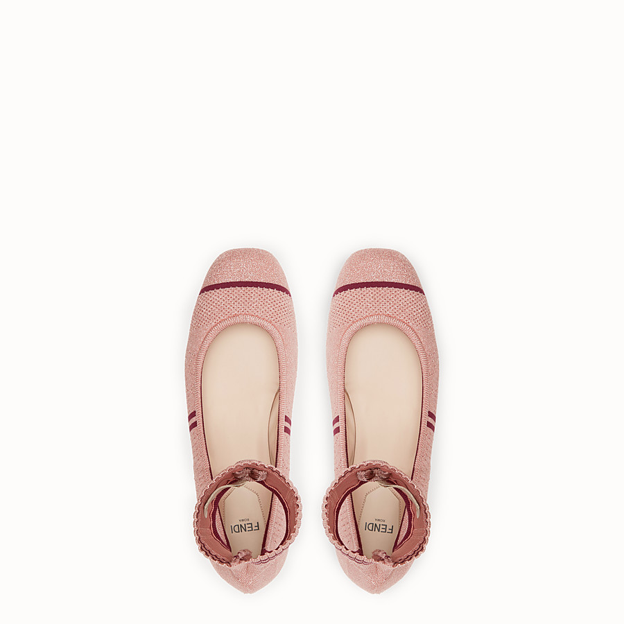 FENDI BALLERINAS - Pink fabric flats - view 4 detail