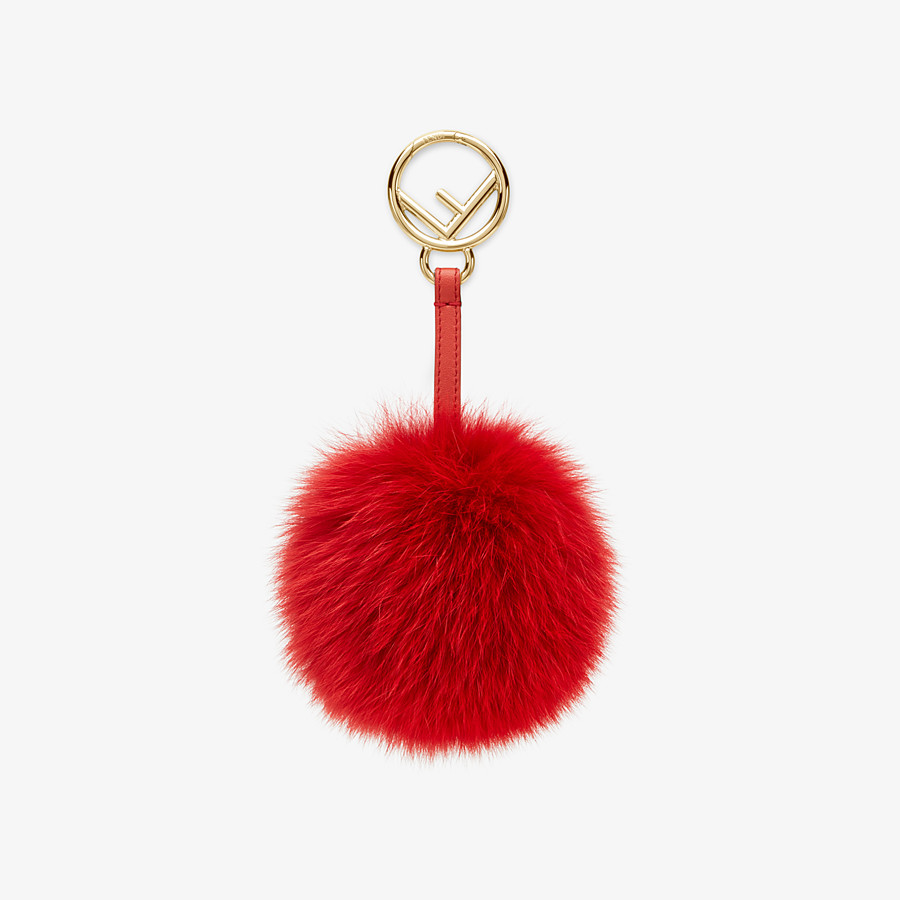 FENDI POM-POM CHARM - Red fox fur charm - view 1 detail