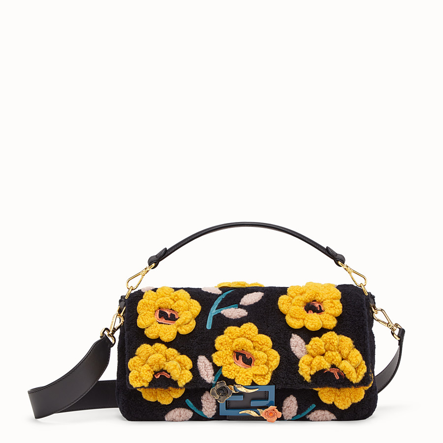 FENDI BAGUETTE LARGE - Multicolour sheepskin bag - view 1 detail