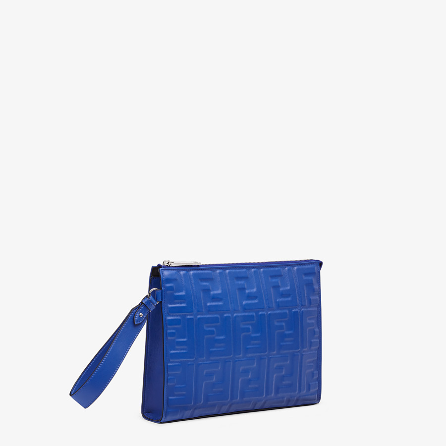 FENDI FLAT POUCH - Blue nappa leather pouch - view 2 detail
