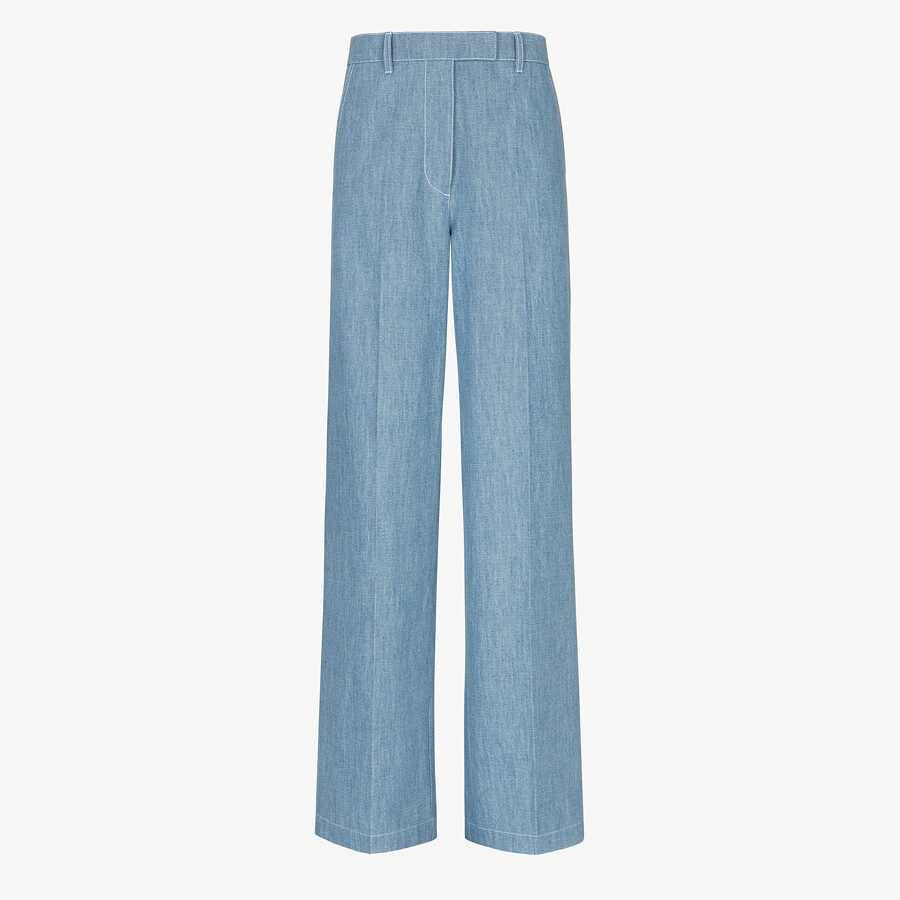 FENDI TROUSERS - Light blue chambray trousers - view 1 detail