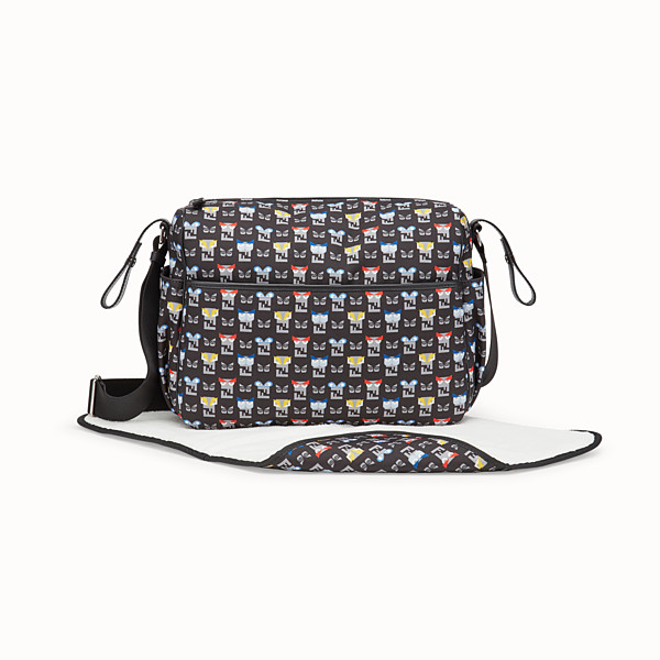FENDI WICKELTASCHE - Wickeltasche aus blauem Stoff mit Monsterprint - view 1 small thumbnail