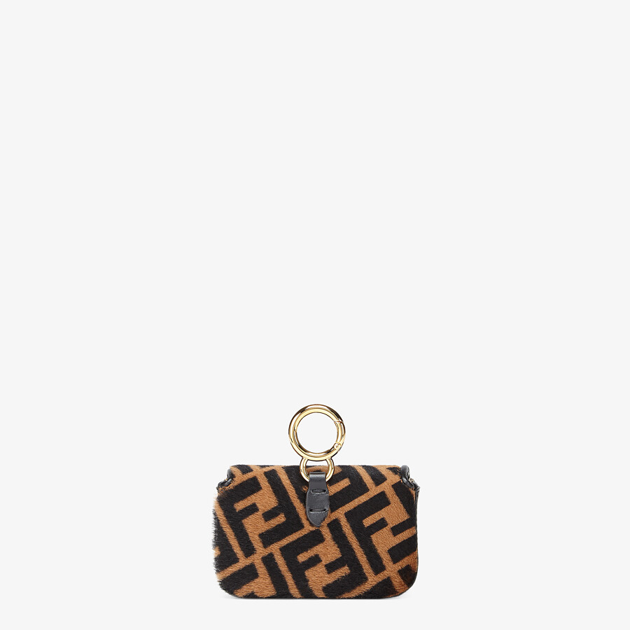 FENDI NANO BAGUETTE CHARM - Brown sheepskin charm - view 3 detail