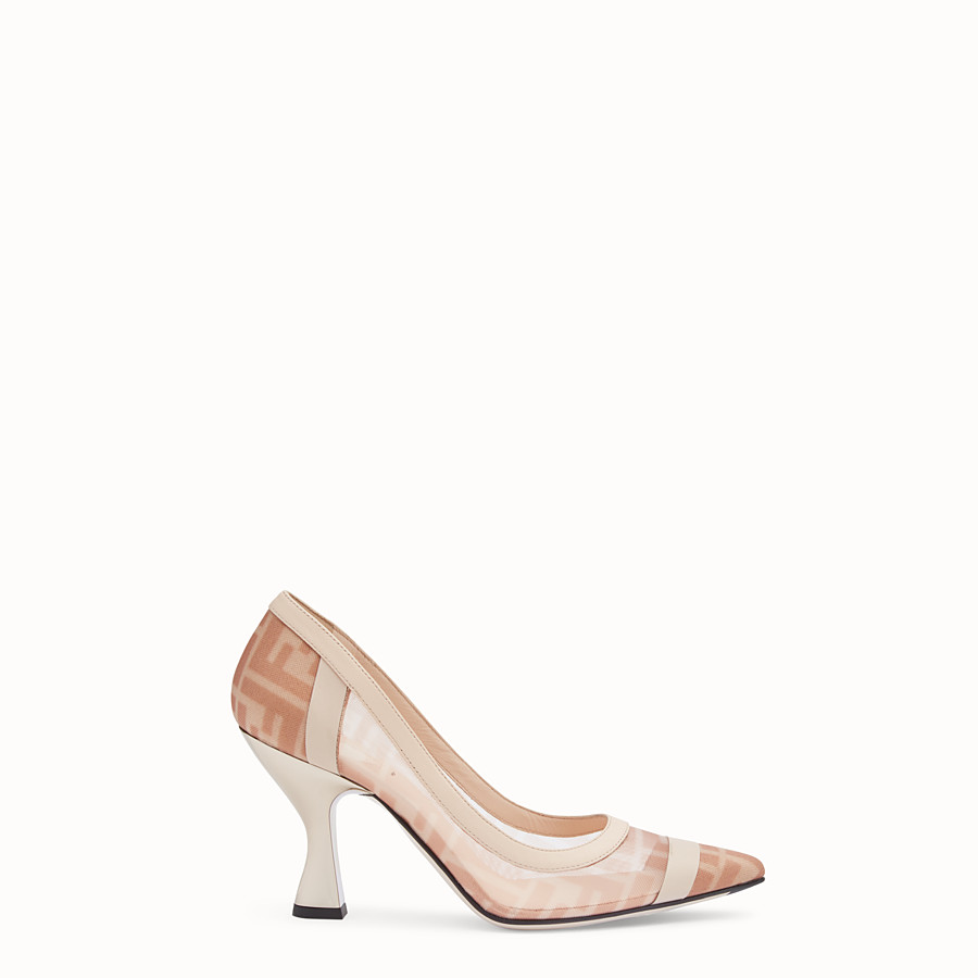 FENDI COURT SHOES - Colibrì in pink mesh and nude leather - view 1 detail