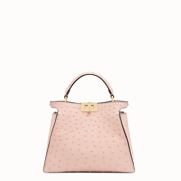 FENDI PEEKABOO ICONIC ESSENTIALLY - Pink ostrich leather bag - view 1 small thumbnail
