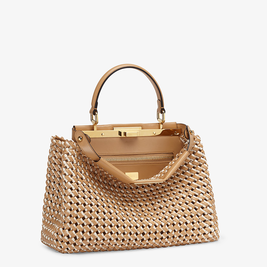 FENDI PEEKABOO ICONIC MEDIUM - Leather and canvas interlace bag - view 3 detail