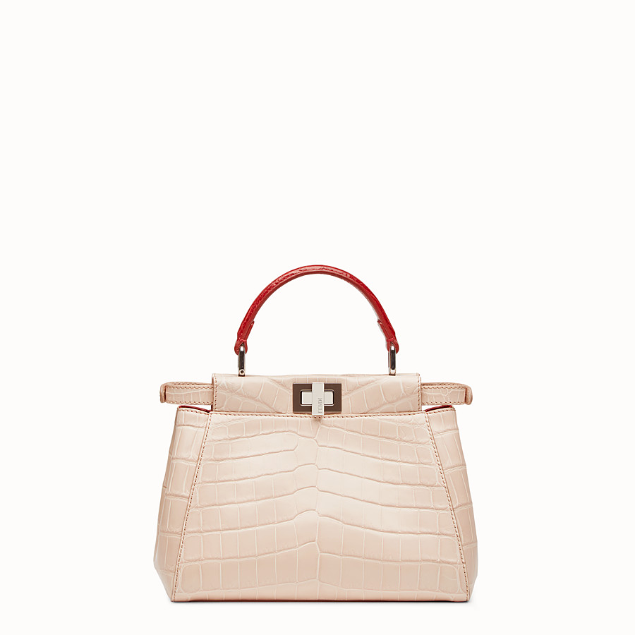 FENDI PEEKABOO MINI - Pink crocodile leather handbag. - view 3 detail