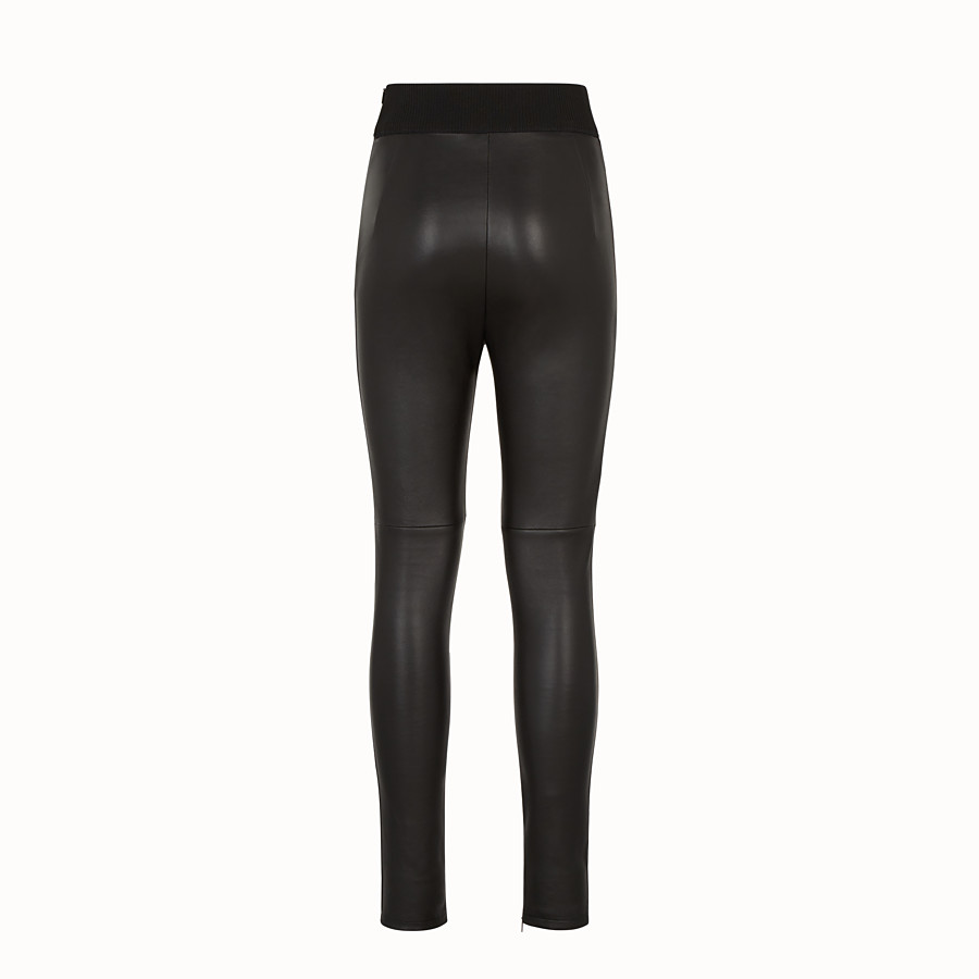 FENDI TROUSERS - Black leather trousers - view 2 detail