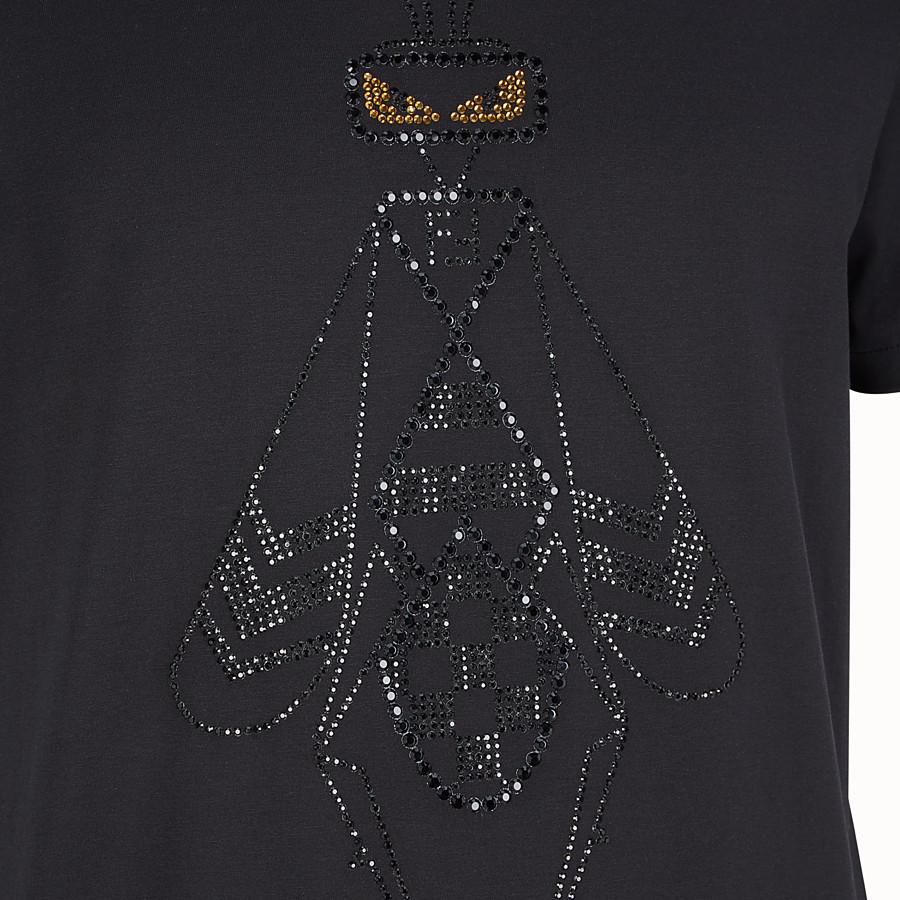 FENDI T-SHIRT - Black cotton jersey T-shirt - view 3 detail