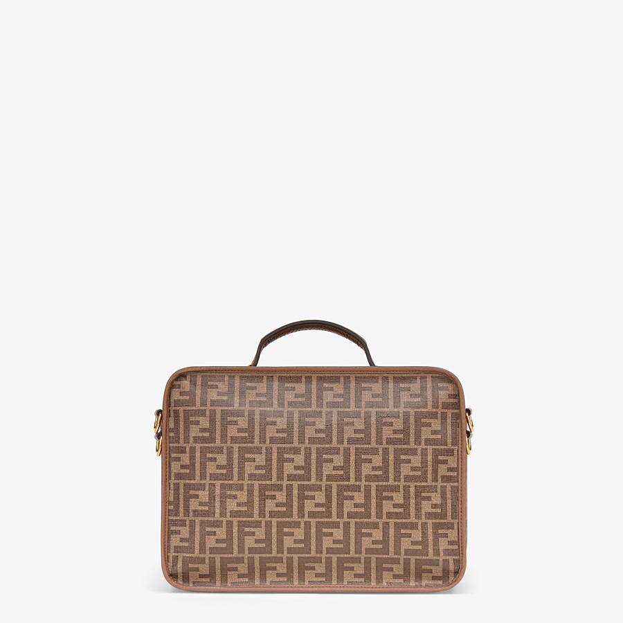 FENDI SMALL TRAVEL BAG - Large brown fabric bag - view 3 detail