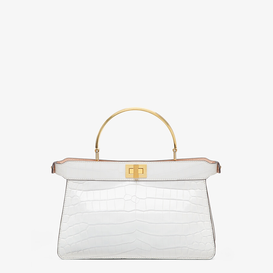 FENDI PEEKABOO ISEEU EAST-WEST - White crocodile leather bag - view 4 detail