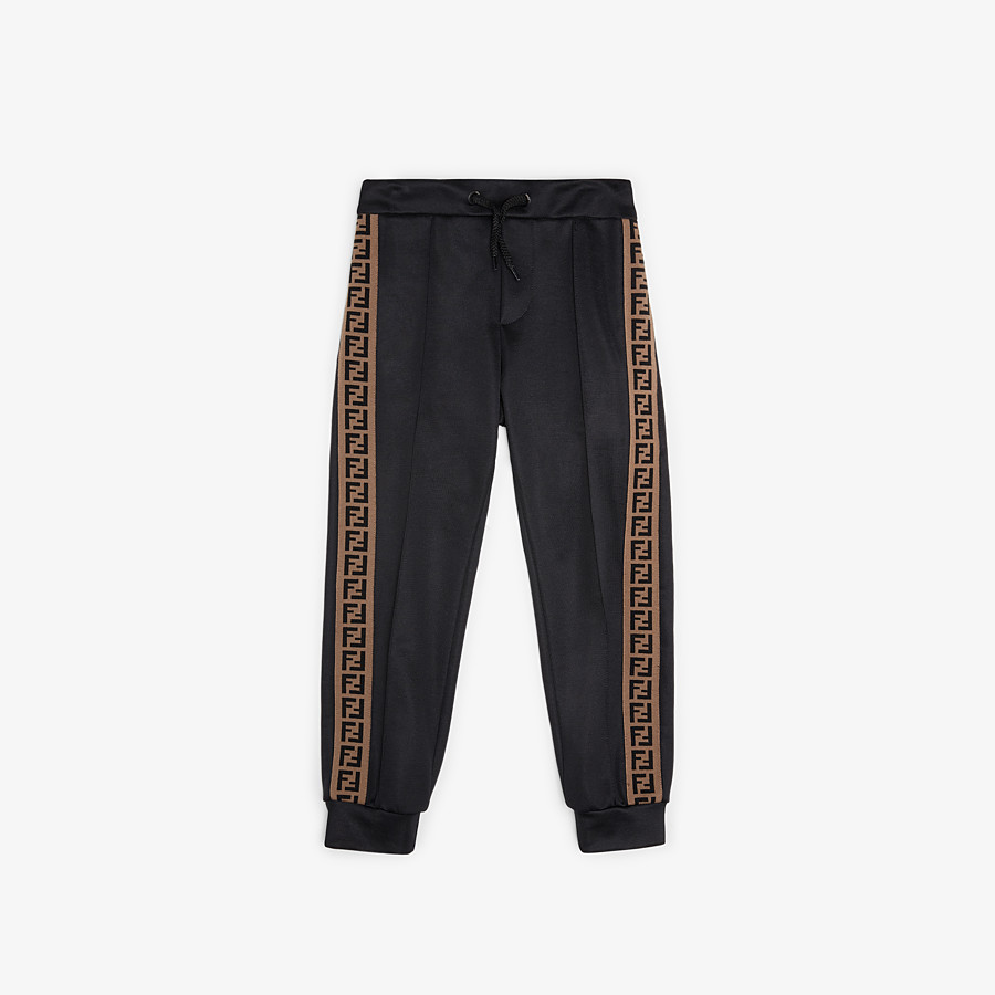 FENDI TROUSERS - Black tech fabric jogging trousers - view 1 detail