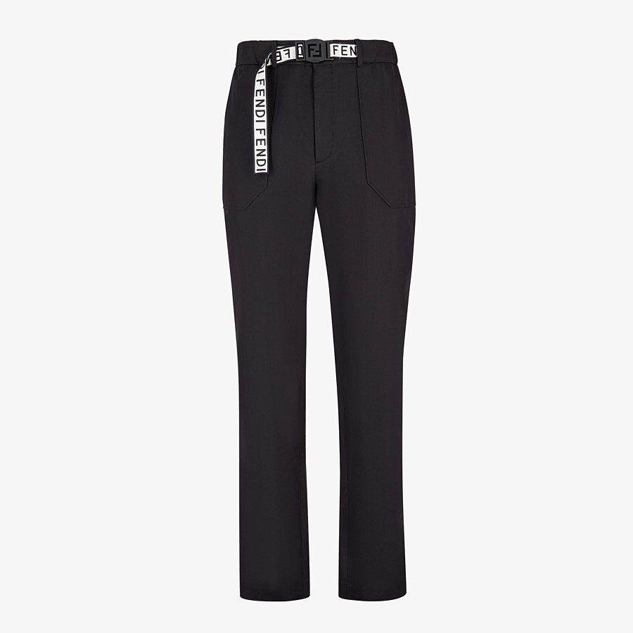 FENDI TROUSERS - Black cotton trousers - view 1 detail