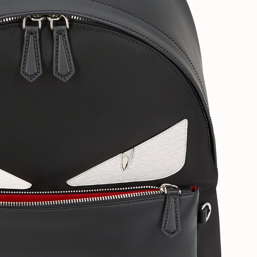 FENDI BACKPACK - Black nylon backpack with exotic leather details - view 4 detail