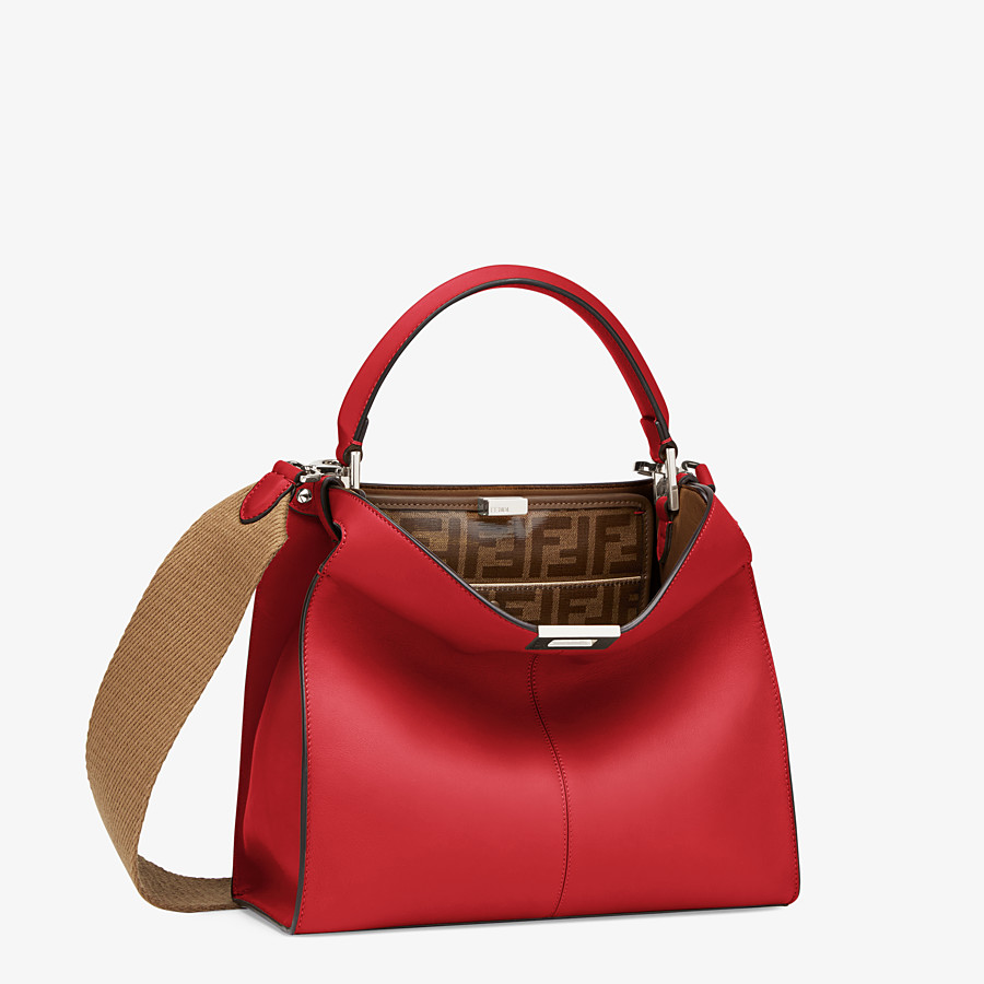 FENDI PEEKABOO X-LITE MEDIUM - Tasche aus Leder in Rot - view 4 detail