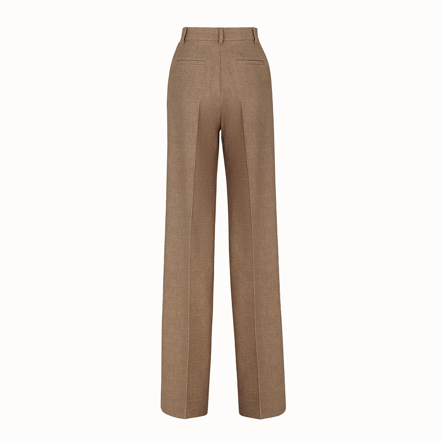 FENDI TROUSERS - Beige silk and wool trousers - view 2 detail