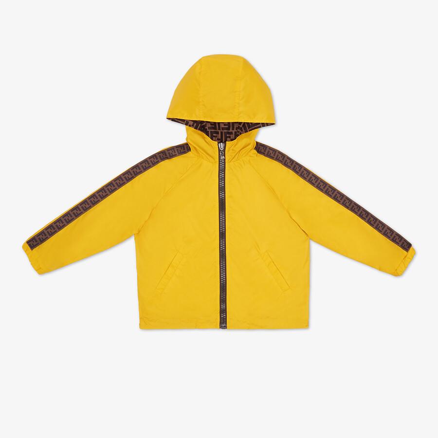 FENDI NYLON JUNIOR JACKET - Curry yellow nylon reversible junior jacket with tobacco FF logo - view 1 detail