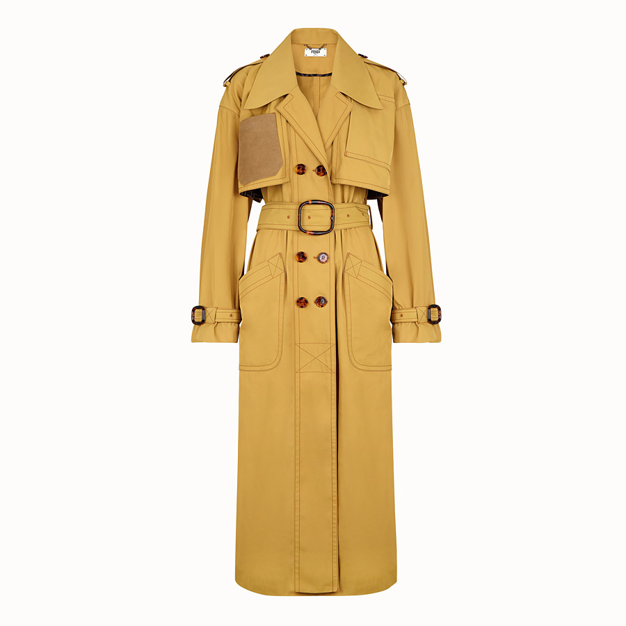 FENDI OVERCOAT - Yellow nylon trench coat - view 1 detail