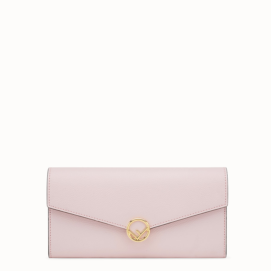 FENDI CONTINENTAL WITH CHAIN - Pink leather wallet - view 1 detail