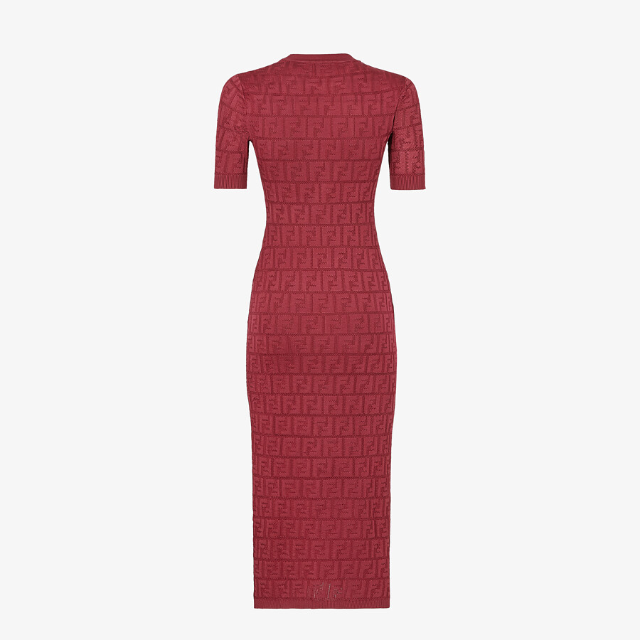 FENDI DRESS - Burgundy viscose and cotton dress - view 2 detail