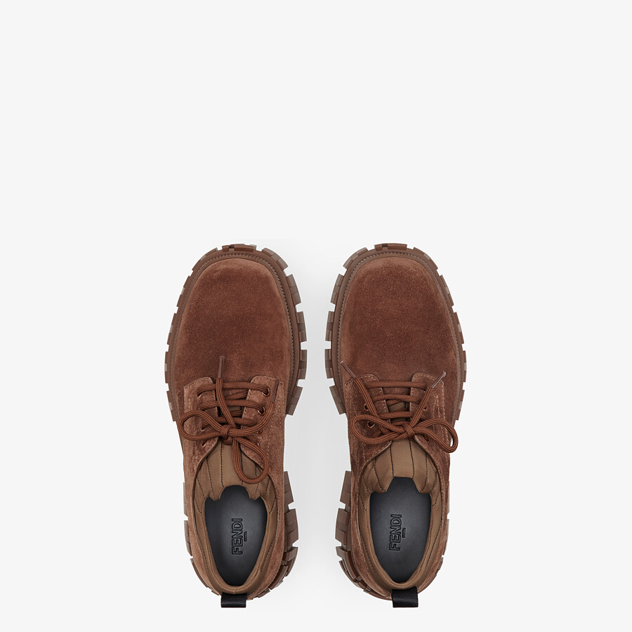 FENDI LACE-UP - Brown suede lace-ups - view 4 detail