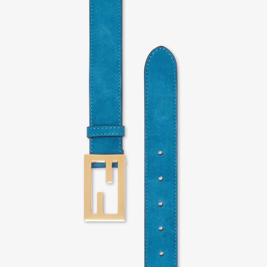 FENDI BAGUETTE BELT - Light blue suede leather belt - view 2 detail