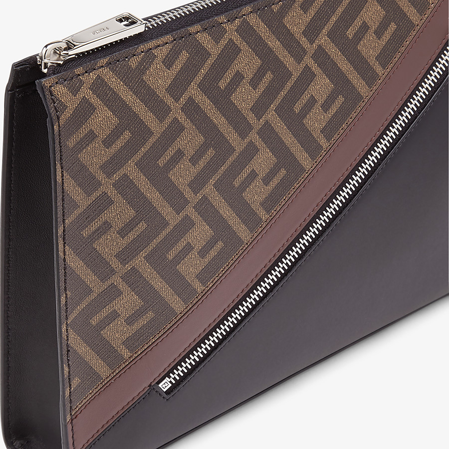 FENDI CLUTCH - Brown fabric pochette - view 5 detail