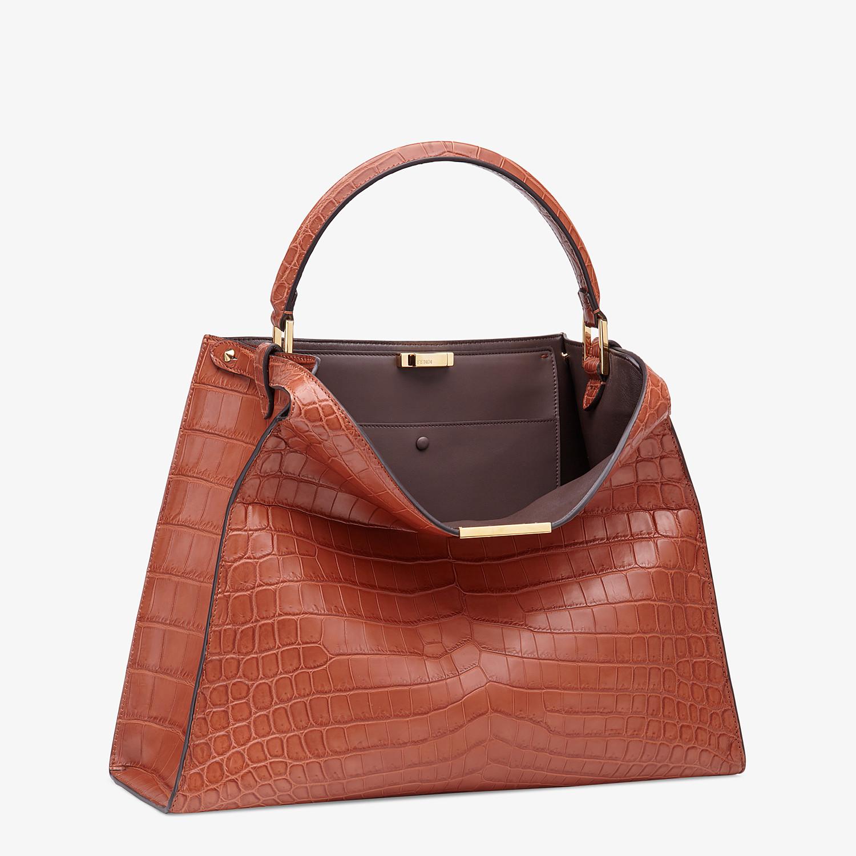 FENDI PEEKABOO X-LITE LARGE - Red crocodile leather bag - view 3 detail