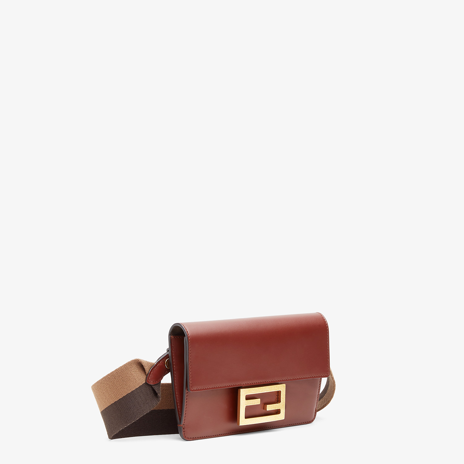 FENDI FLAT BAGUETTE - Brown leather mini-bag - view 3 detail