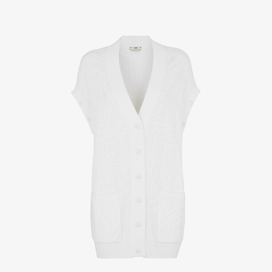 FENDI CARDIGAN - White cotton cardigan - view 4 detail