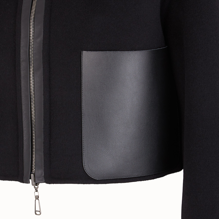 FENDI GIACCA - Giubbotto in lana nera - vista 3 dettaglio