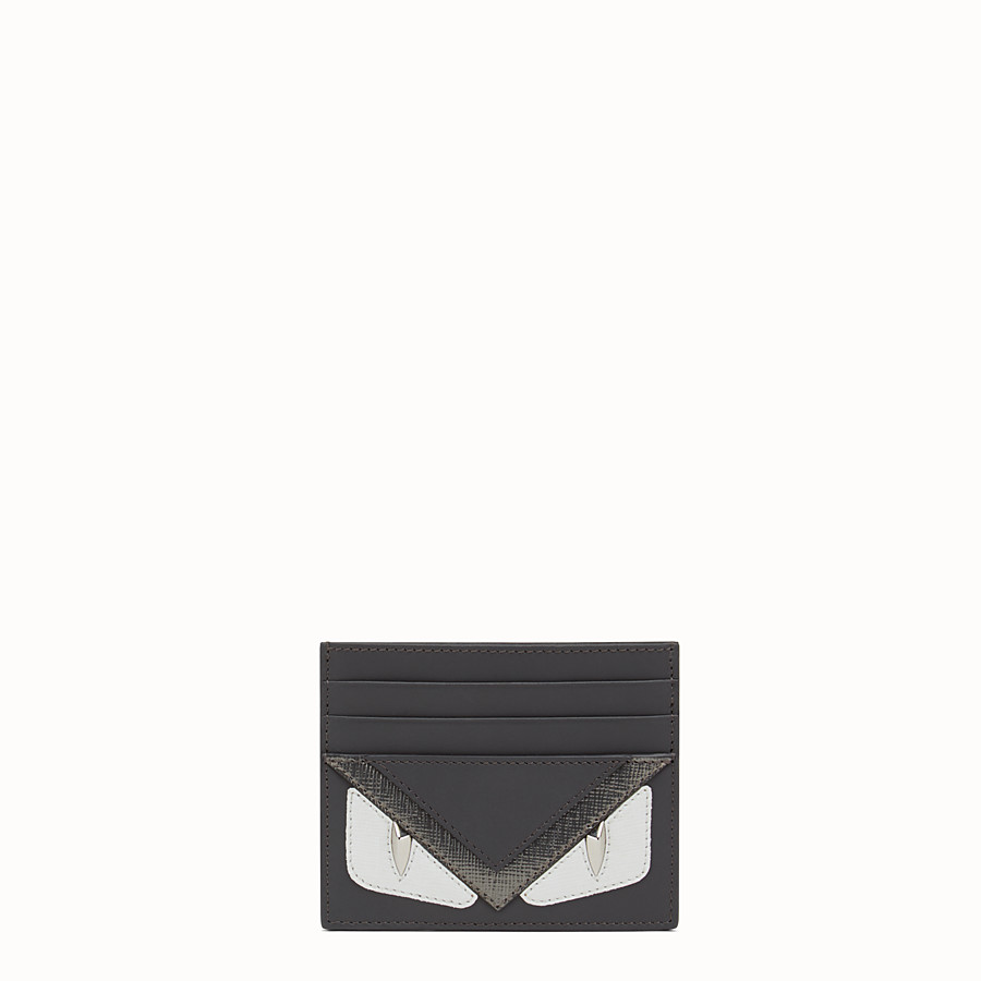 FENDI CARD HOLDER - in gray laminated leather - view 1 detail