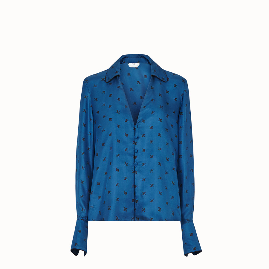 FENDI SHIRT - Blue silk blouse - view 1 detail