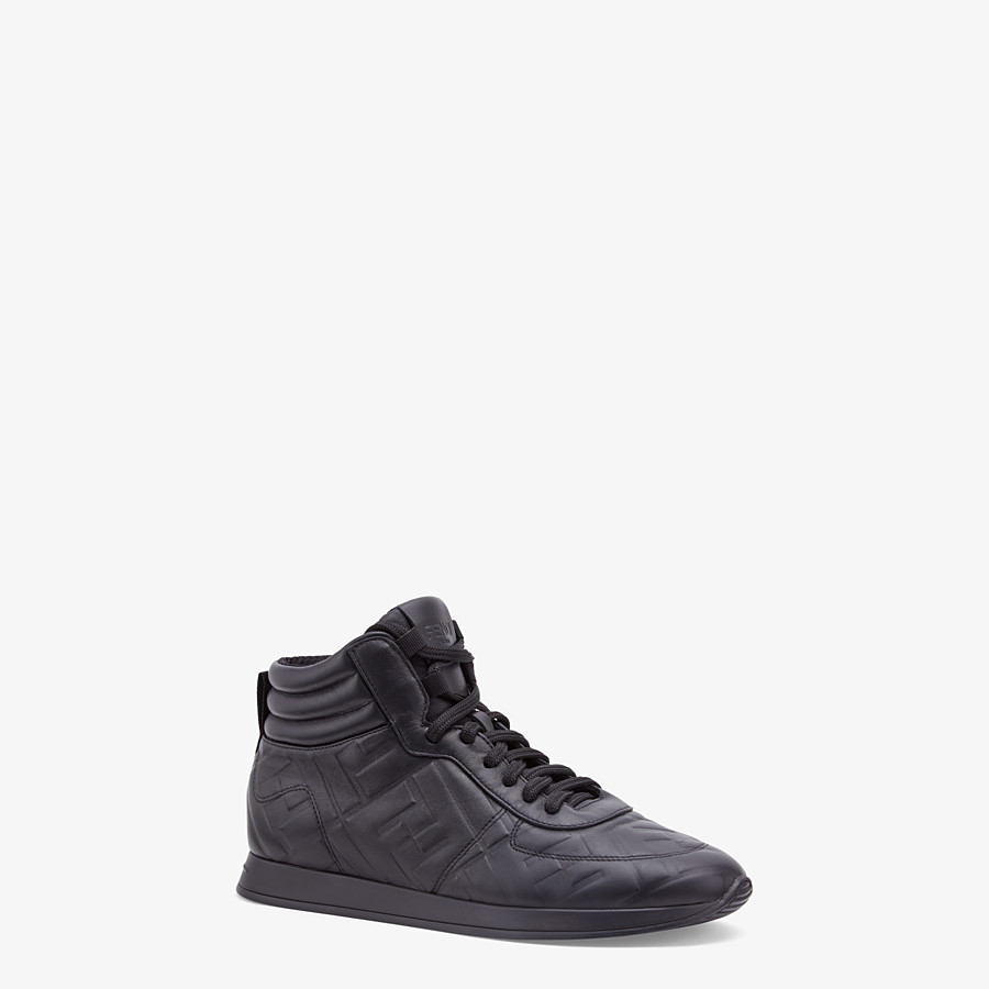 FENDI SNEAKERS - Black nappa leather high tops - view 2 detail