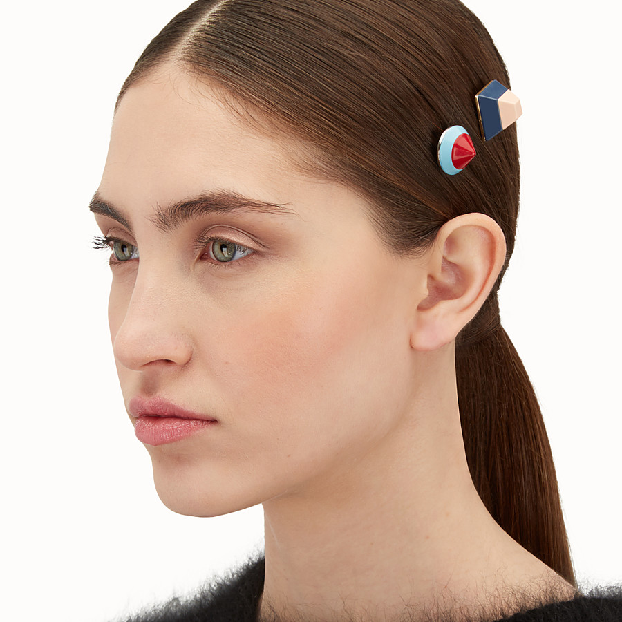 FENDI RAINBOW HAIR CLIP - Set of two studded clips - view 2 detail