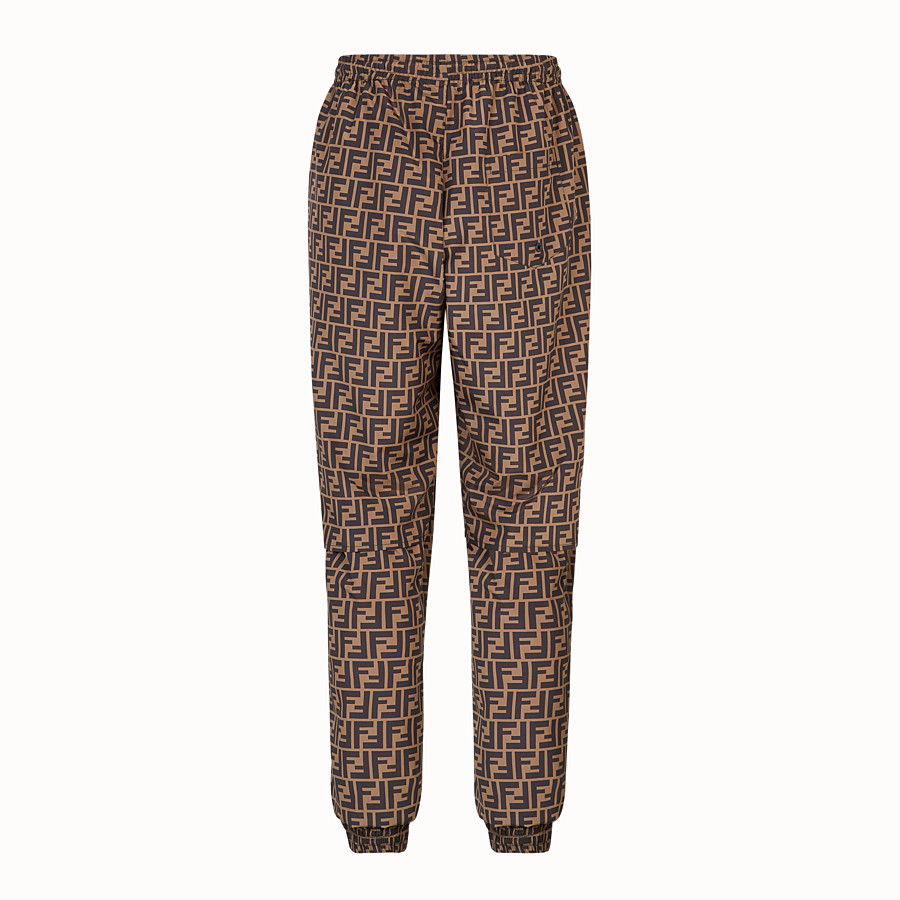 FENDI TROUSERS - Brown nylon trousers - view 2 detail