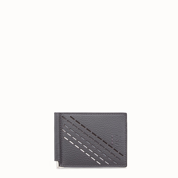FENDI CARD HOLDER - Grey, calf leather money clip - view 1 small thumbnail