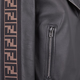 FENDI JACKET - Black leather jacket - view 3 thumbnail