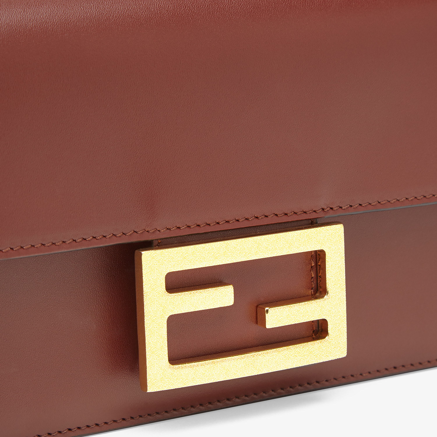 FENDI FLAT BAGUETTE - Brown leather mini-bag - view 6 detail