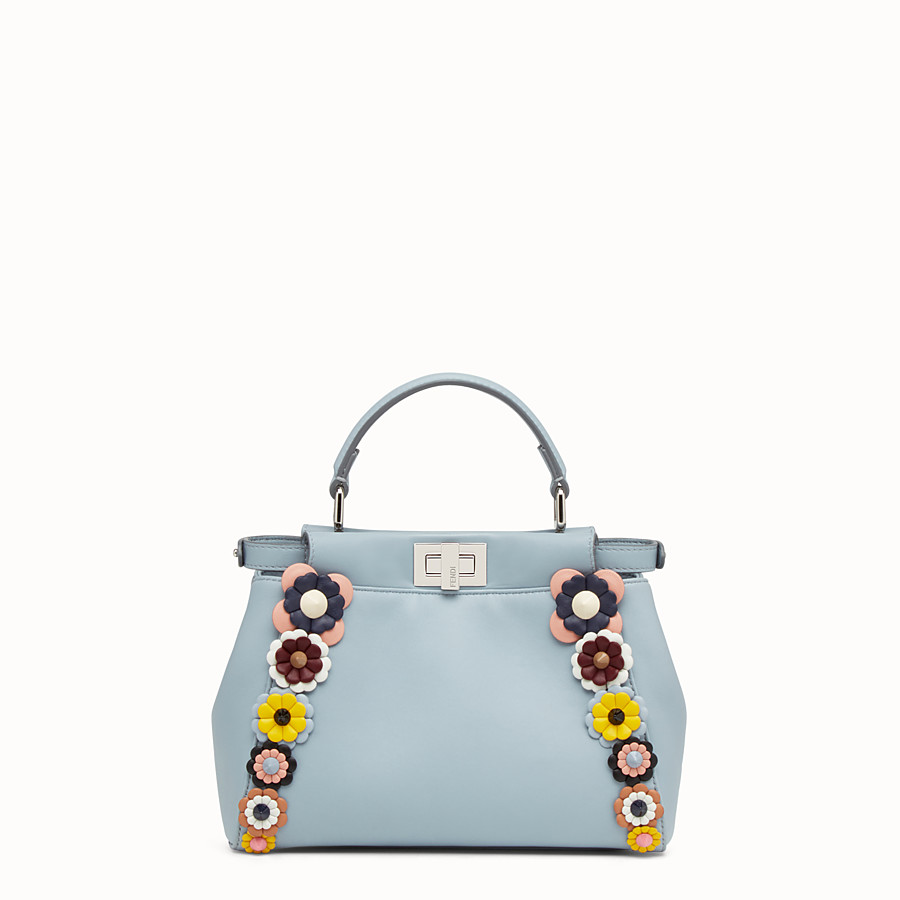 FENDI PEEKABOO MINI - Light blue nappa handbag with flowers - view 3 detail