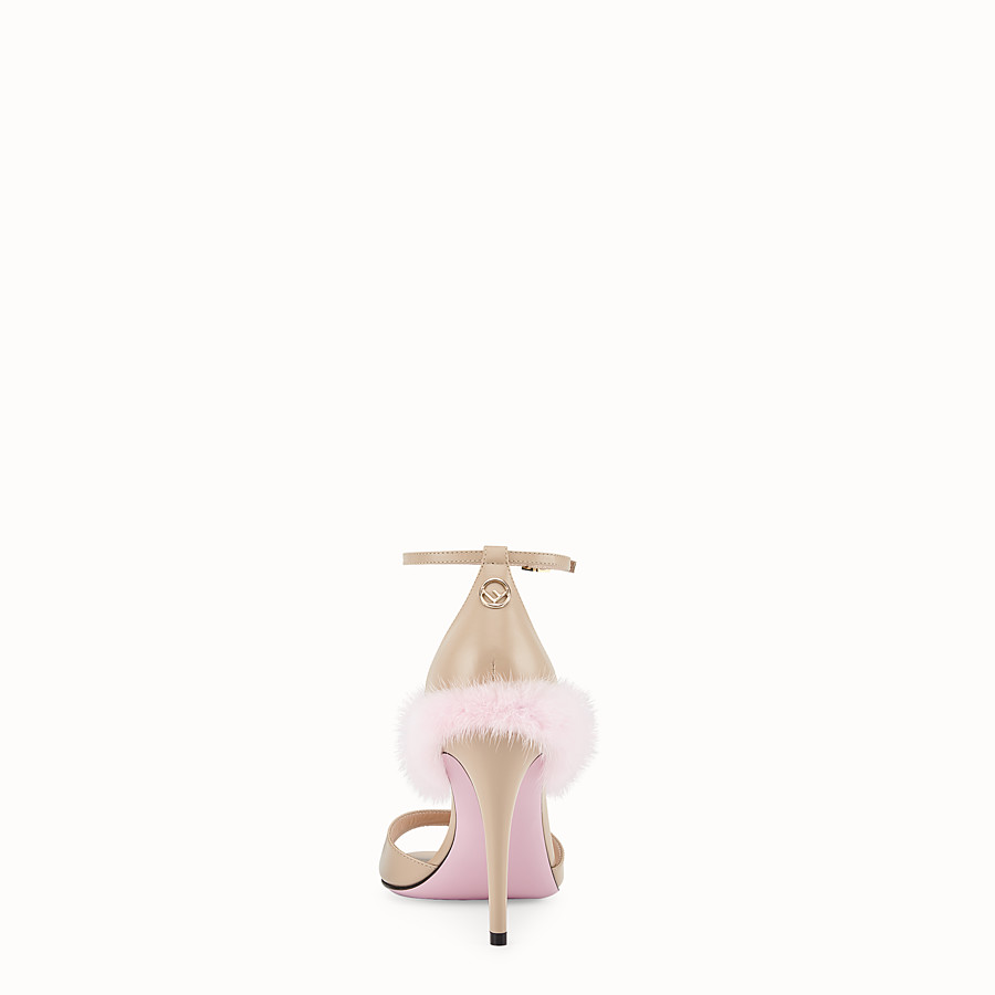 FENDI SANDALS - Beige leather high sandals - view 3 detail