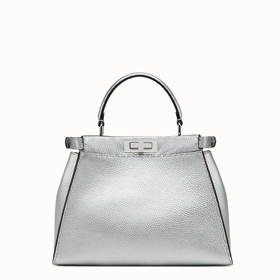 FENDI PEEKABOO REGULAR - 銀色羅馬皮革手提包 - view 3 detail
